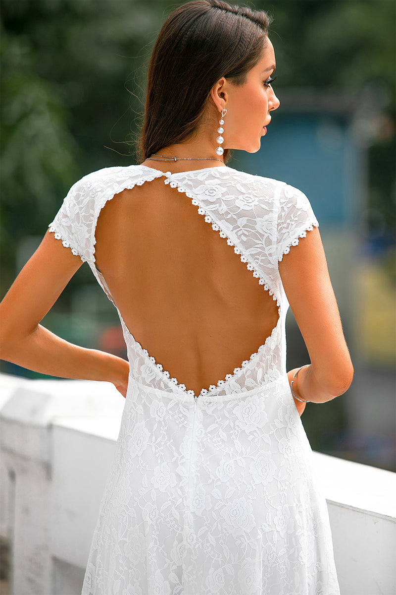 Load image into Gallery viewer, White Lace Open Back Party Dress