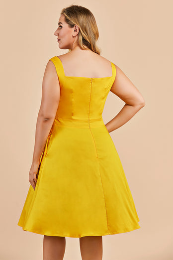Plus Size Yellow 1950s Vintage Dress