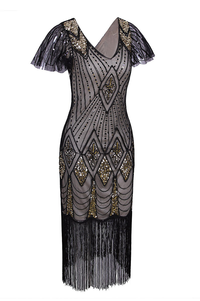 Load image into Gallery viewer, Flapper Black 1920s Sequins Dress