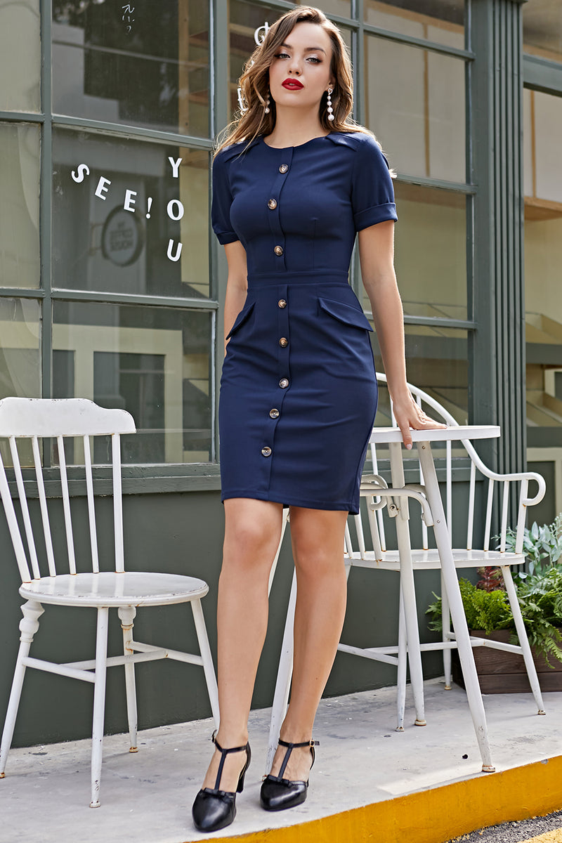 Load image into Gallery viewer, Navy Scoop Vintage Dress 1960s Dress