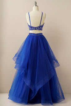 Two Pieces Halter Beaded Prom Dress