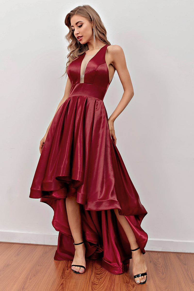 Load image into Gallery viewer, Burgundy High Low Prom Dress with Pockets