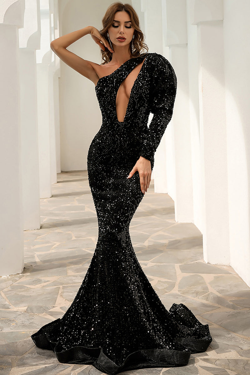 Load image into Gallery viewer, One Shoulder Sequins Mermaid Prom Dress