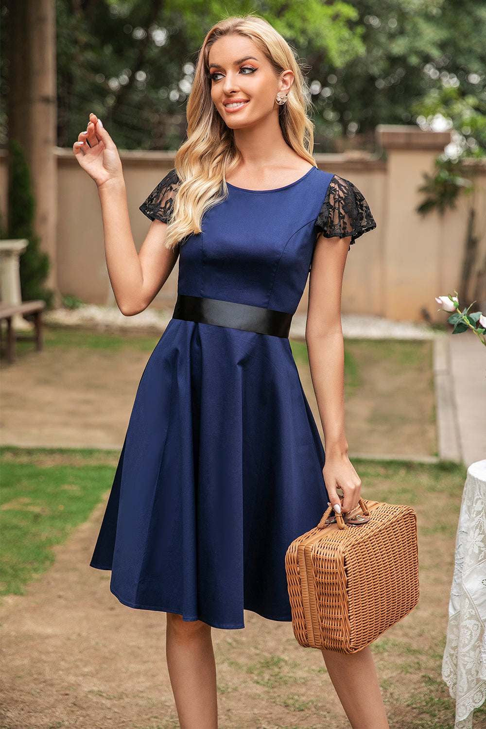 Navy Vintage Swing Dress With Lace