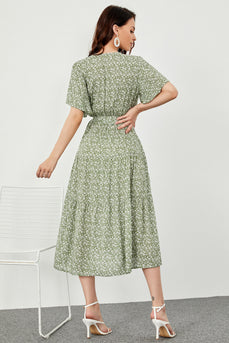 Print Green Summer Boho Dress