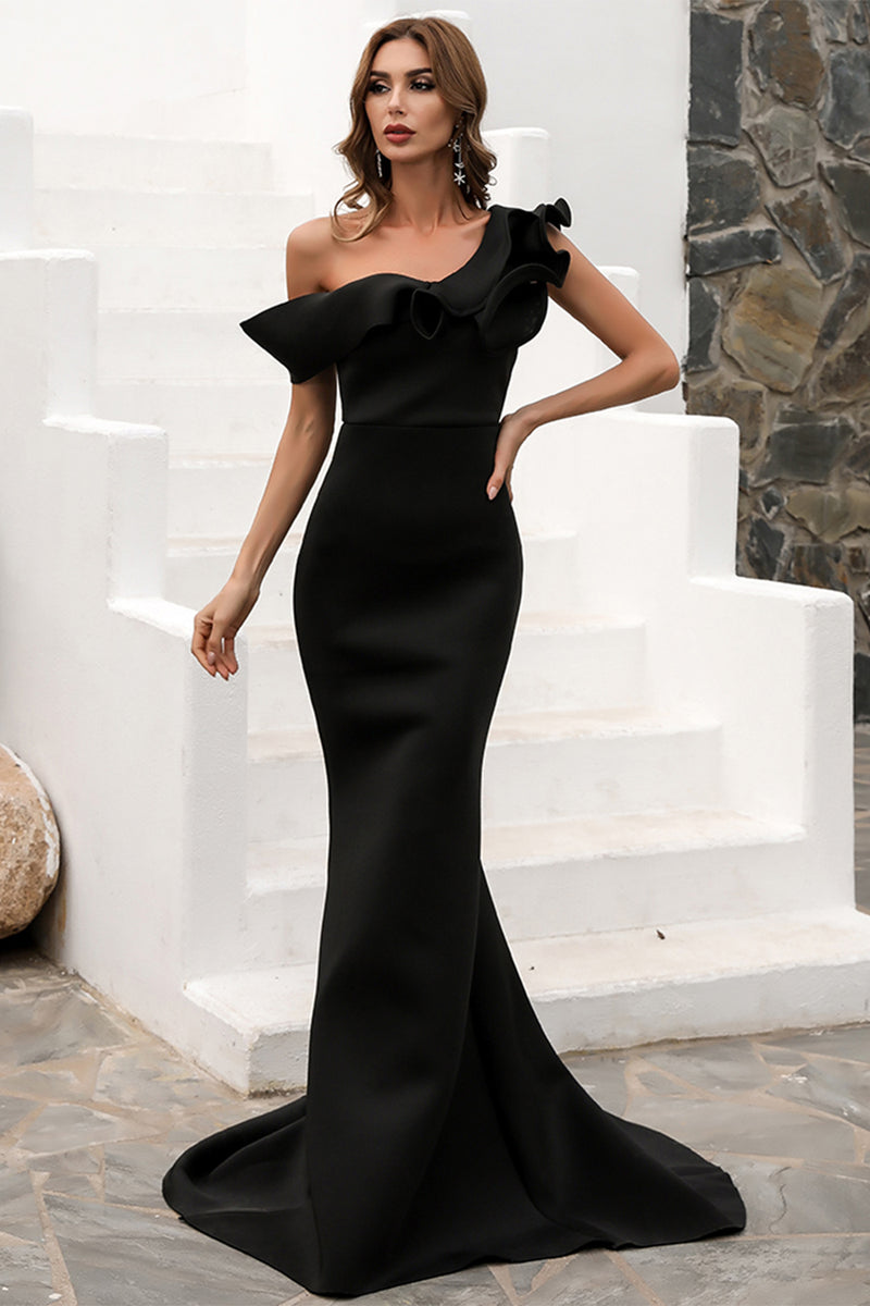 Load image into Gallery viewer, One Shoulder Mermaid Black Prom Dress