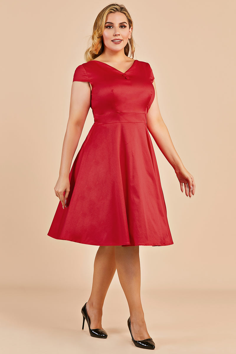 Load image into Gallery viewer, Red Vintage Swing Plus Size Dress