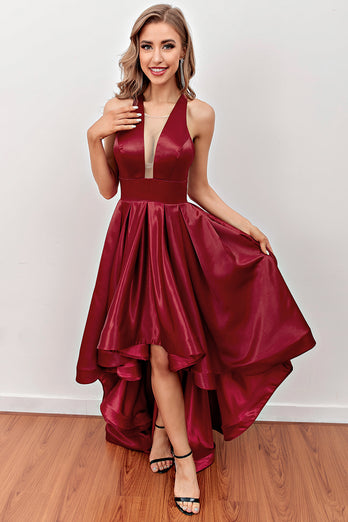 Burgundy High Low Prom Dress with Pockets