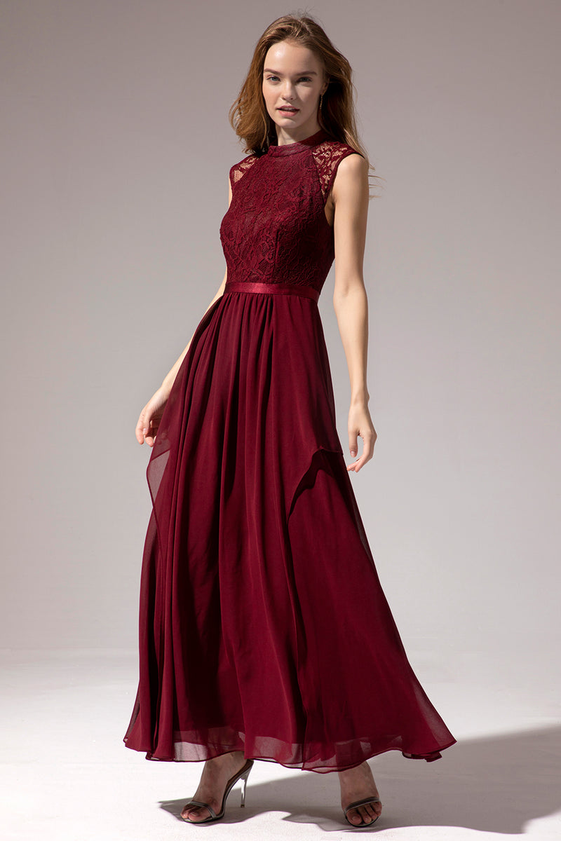 Load image into Gallery viewer, Burgundy Long Chiffon Prom Dress