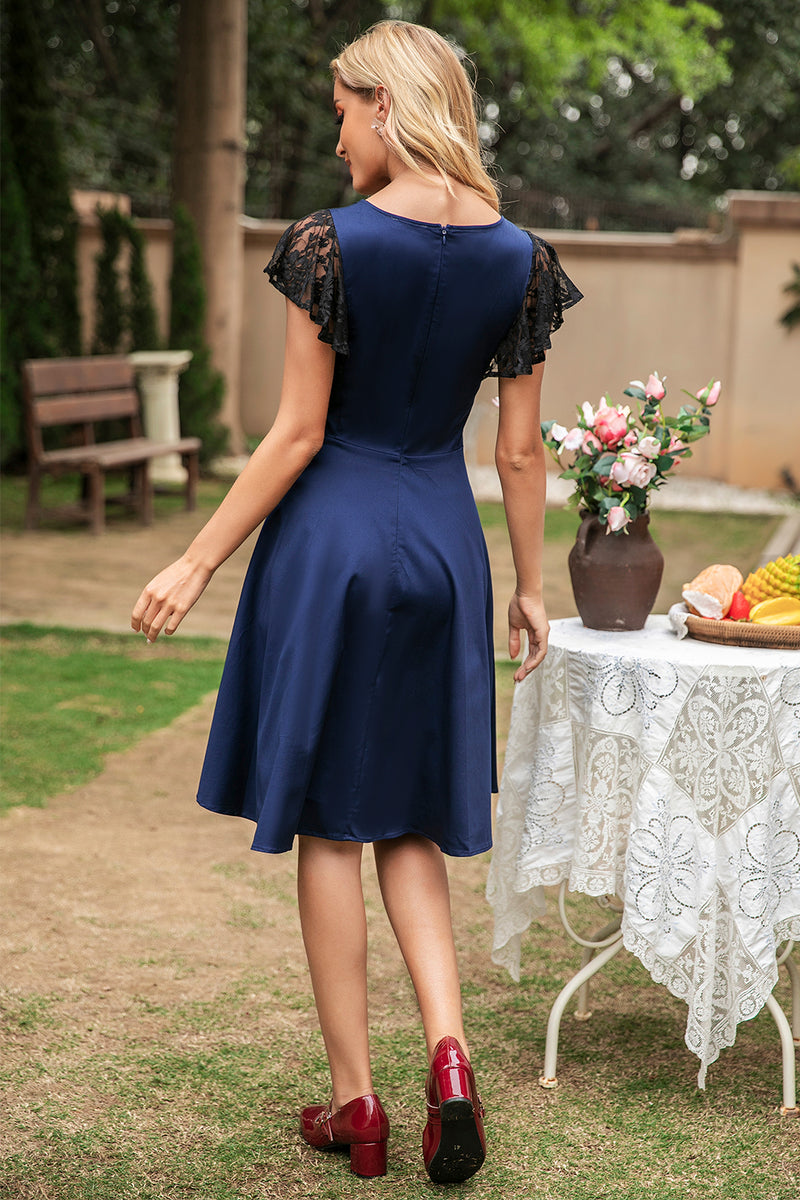 Load image into Gallery viewer, Navy Vintage Swing Dress With Lace