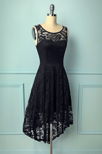 Black Asymmetry Lace Dress - ZAPAKA