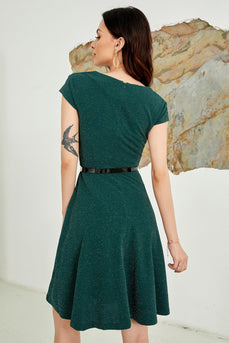 Dark Green V Neck Vintage Dress
