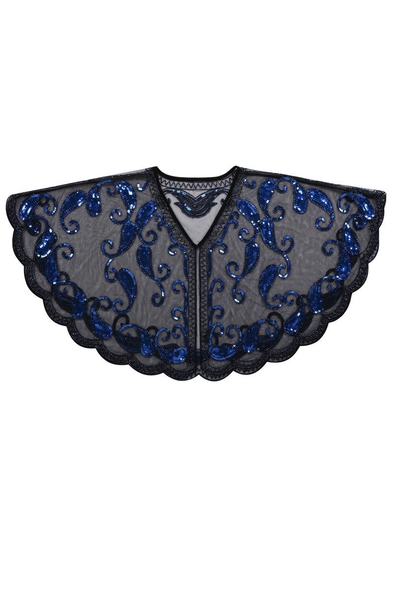 Load image into Gallery viewer, 1920s Blue Glitter Sequins Cape