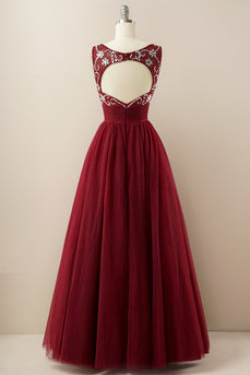 Burgundy Tulle Prom Dress