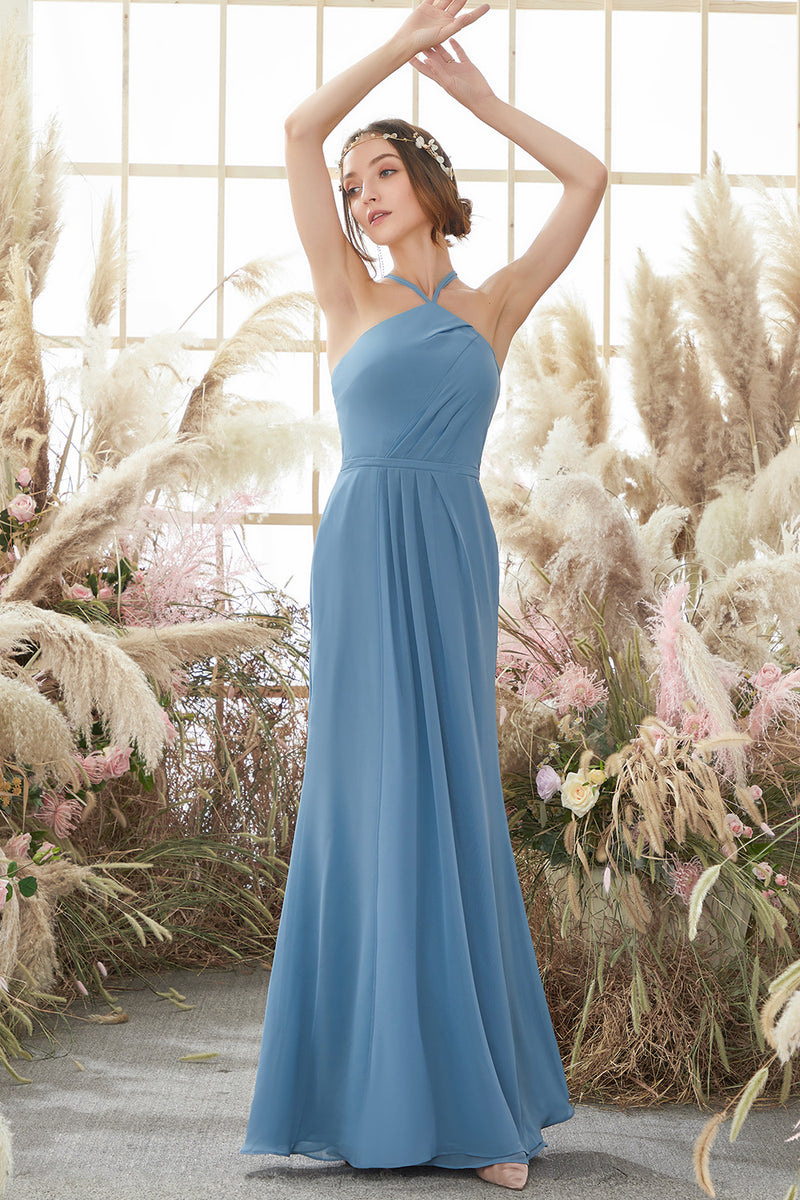 Load image into Gallery viewer, Baby Blue Halter Long Bridesmaid Dress