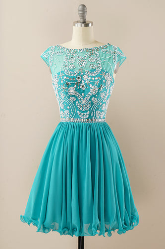Turquoise Beaded Sleeveless Homecoming Dress