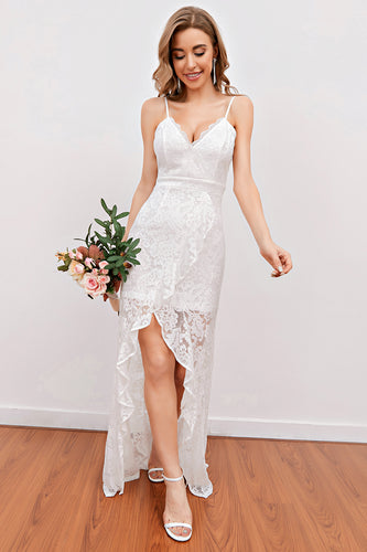 White Lace Beach Wedding Dress