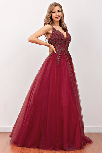 Burgundy Beaded Long Prom Dress