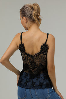 Spaghetti Straps Lace Back Black Tank Top