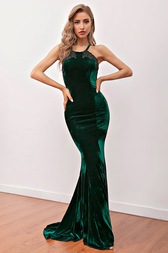 Dark Green Mermaid Velvet Long Evening Dress