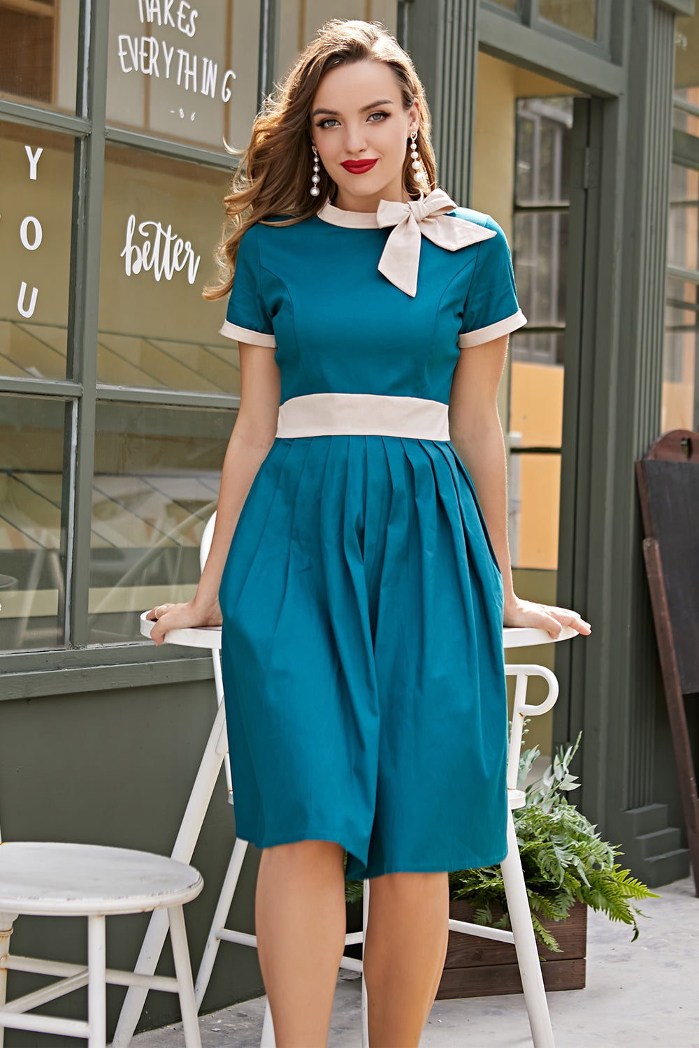 Blue Vintage Dress with Bow