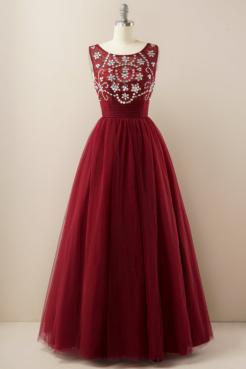 Load image into Gallery viewer, Burgundy Tulle Prom Dress
