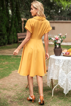 Elegant Yellow V Neck Vintage Dress