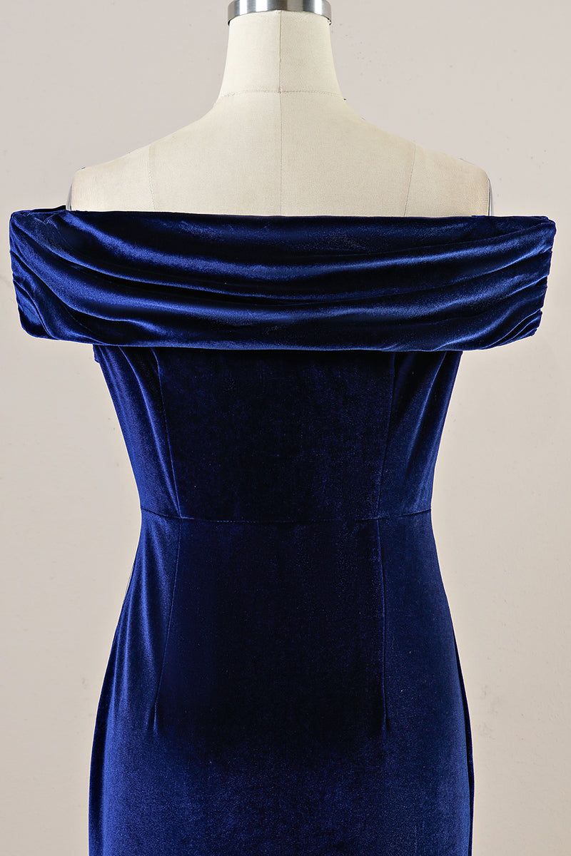 Load image into Gallery viewer, Navy Velvet Bodycon Party Dress