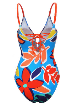Blue Printed Spaghetti Straps One Piece Swimwear