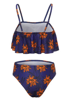 Royal Blue Spaghetti Straps Printed Swimwear