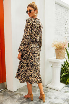 Brown Leopard Printed Casual Dress