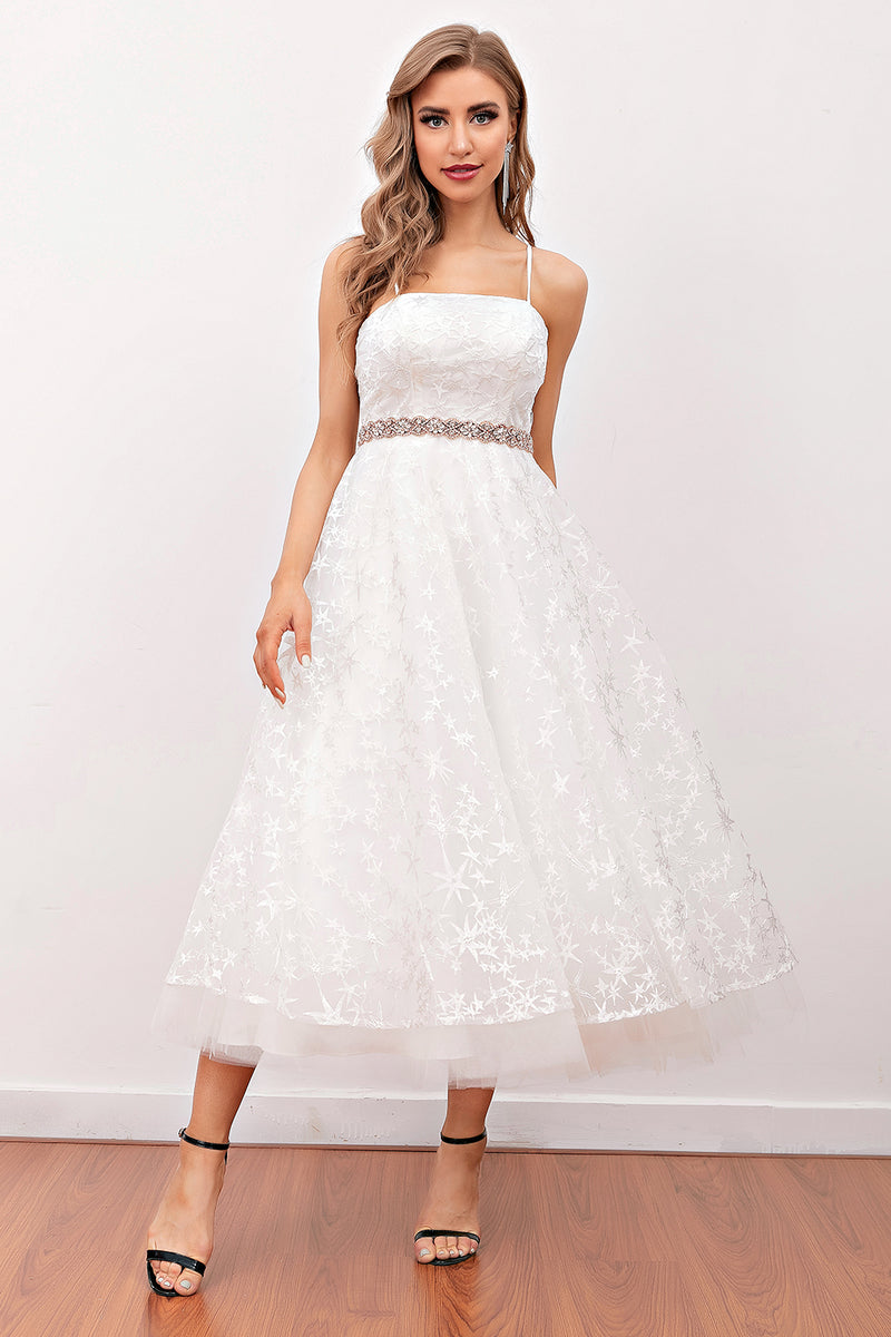Load image into Gallery viewer, White Lace Midi Prom Dress