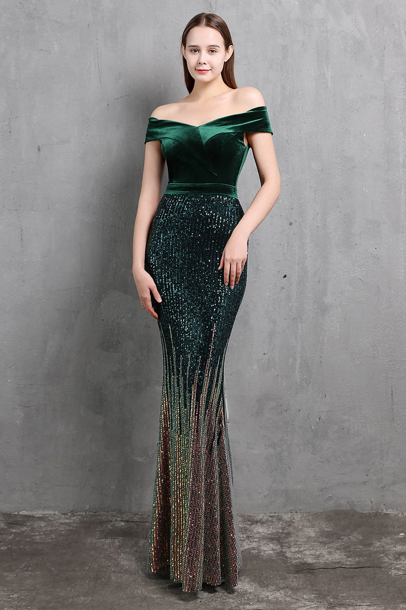 Load image into Gallery viewer, Gold Mermaid Sequin Long Prom Dress