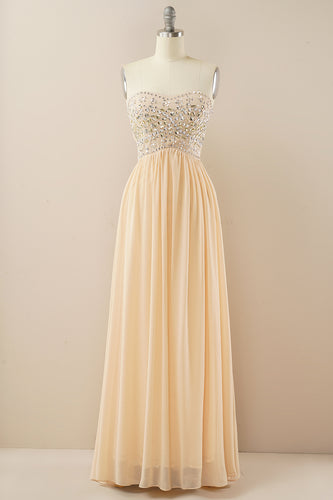 Champagne Sweetheart A Line Chiffon Prom Dress
