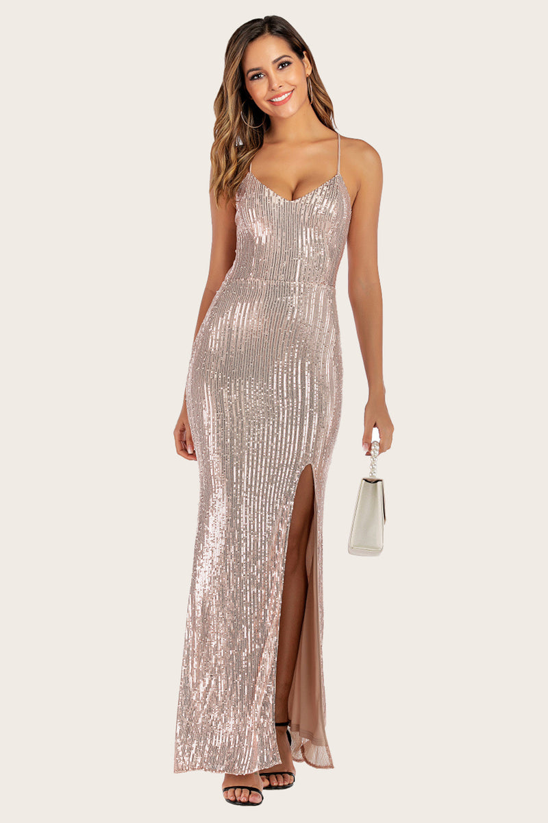 Load image into Gallery viewer, Gold Sequins Mermaid Prom Dress