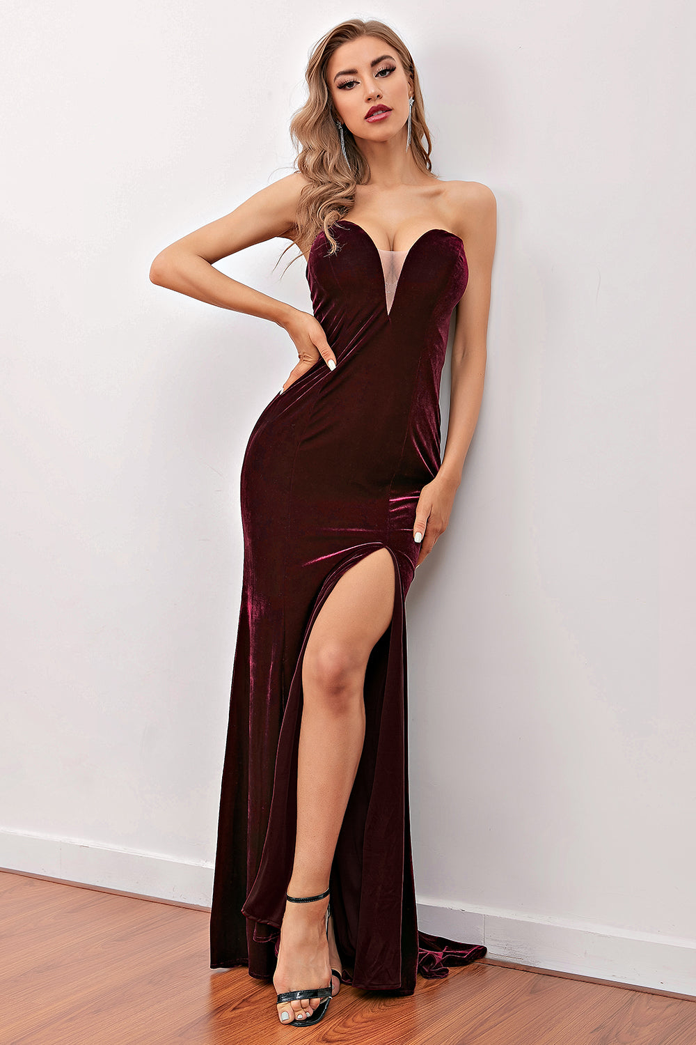 Fashion Burgundy Sweetheart Long Party Dress