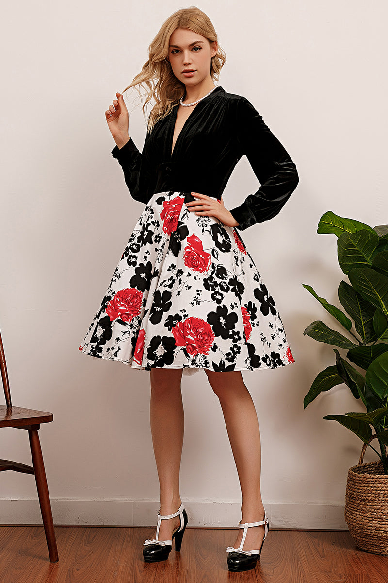 Load image into Gallery viewer, Patchwork Long Sleeves Printed Dress