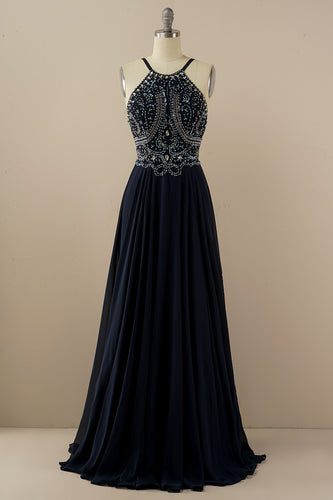 Halter Beaded Backless Prom Dress