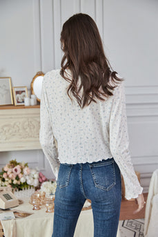 White Floral Knitted Sweater Top