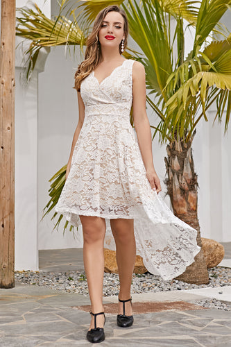 White & Champagne Lace Dress