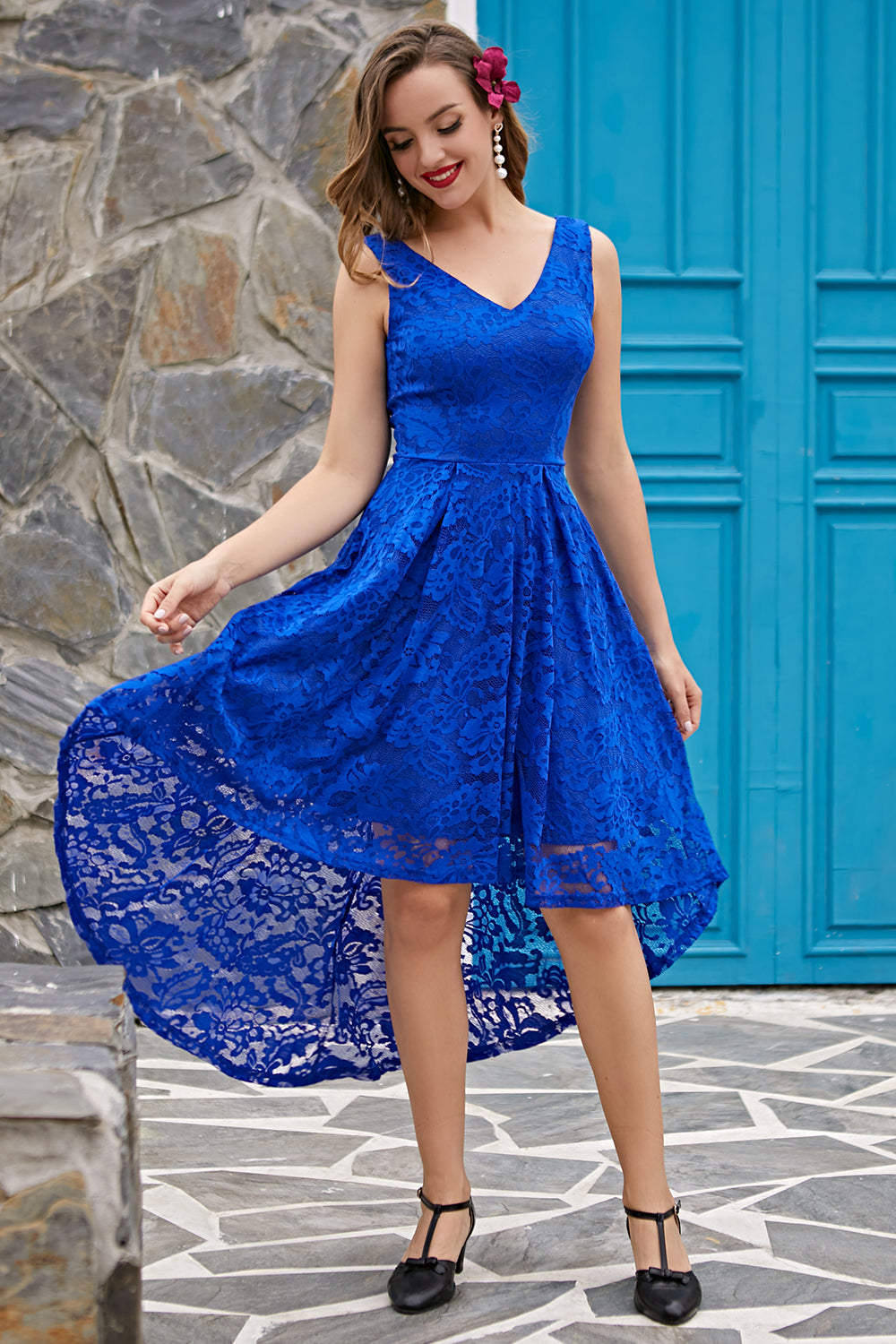 Royal Blue Asymmetrical Lace Dress
