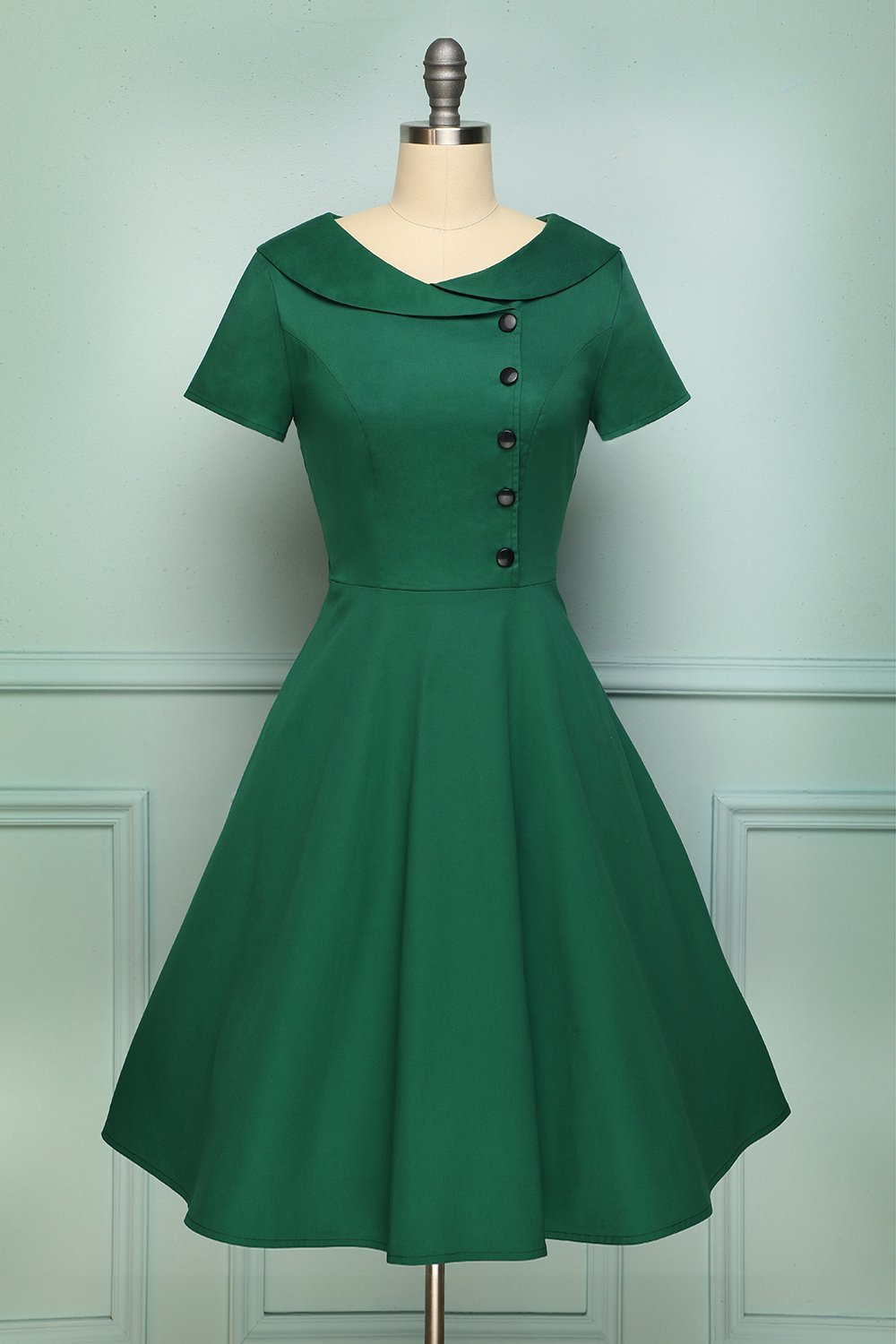 Green Peter Pans Collar A Line Button Up Swing 1950s Dress With Sleeves