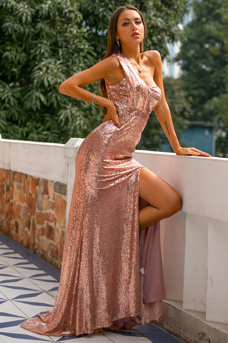 Load image into Gallery viewer, Rose Gold Sequin Prom Bridesmaid Dress