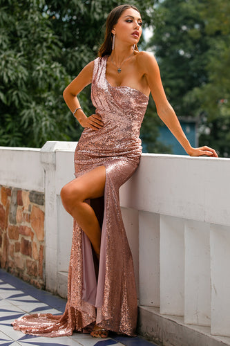 Rose Gold Sequin Prom Bridesmaid Dress