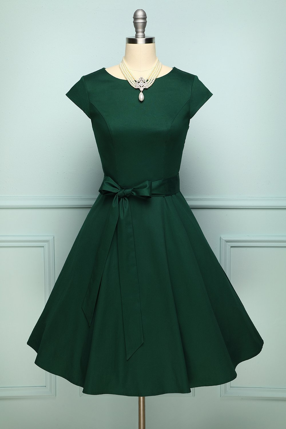 Green A Line Vintage 1950s Cap Sleeves Swing Pinup Party Dress