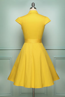 Solid Lapel 1950s Swing Dress