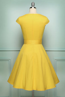 Solid Vintage 1950s Dress