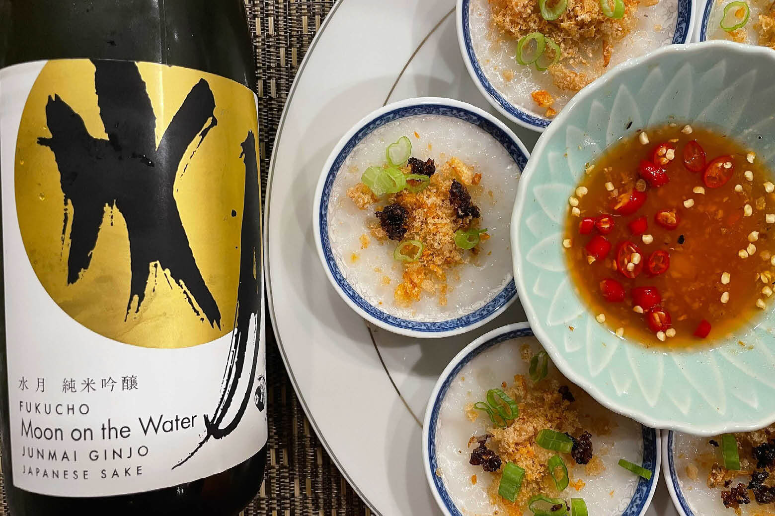 """Fukucho """"Moon on the Water"""" with a Vietnamese appetizer"""
