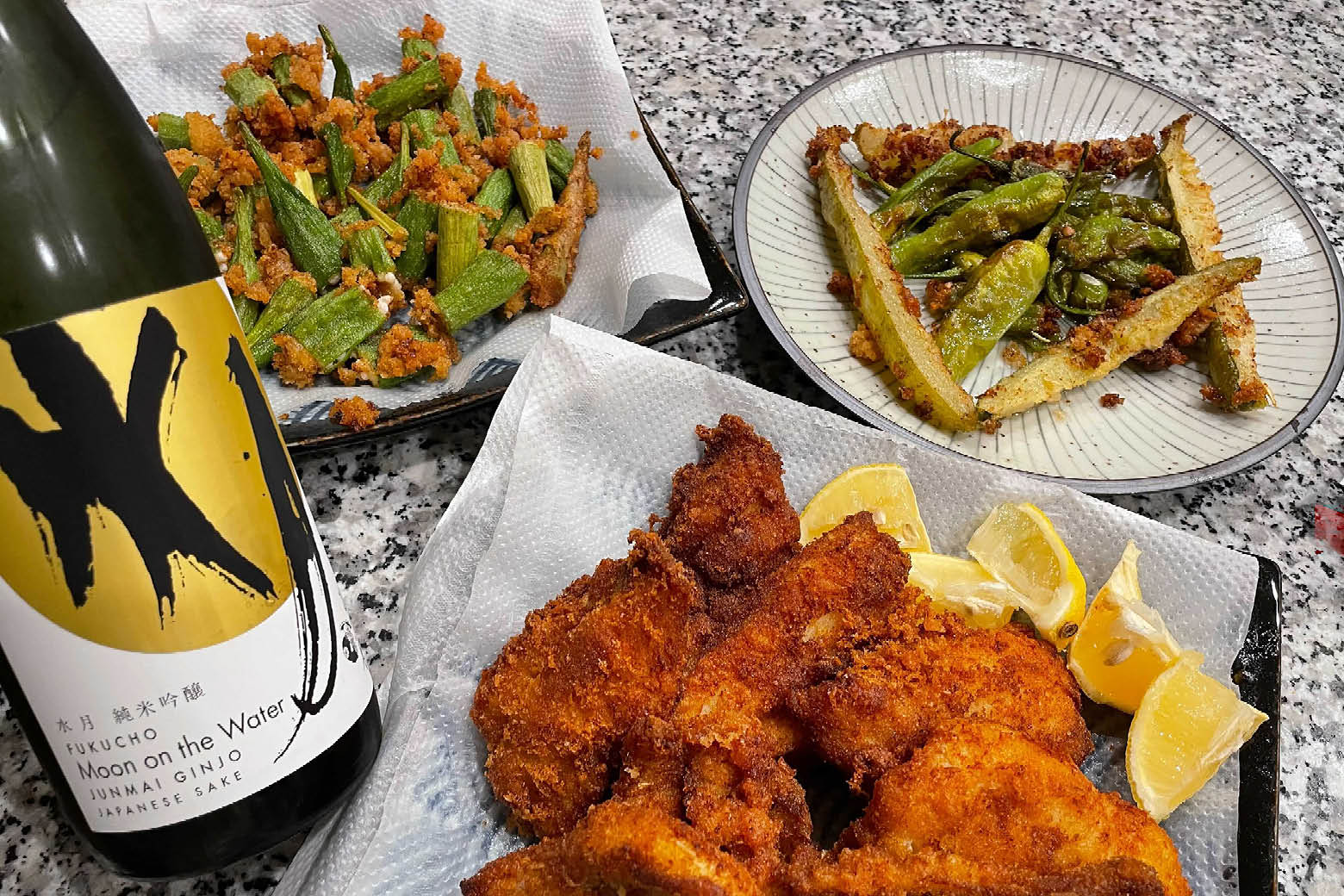 """Fukucho """"Moon on the Water"""" with deep fried catfish and veggies"""
