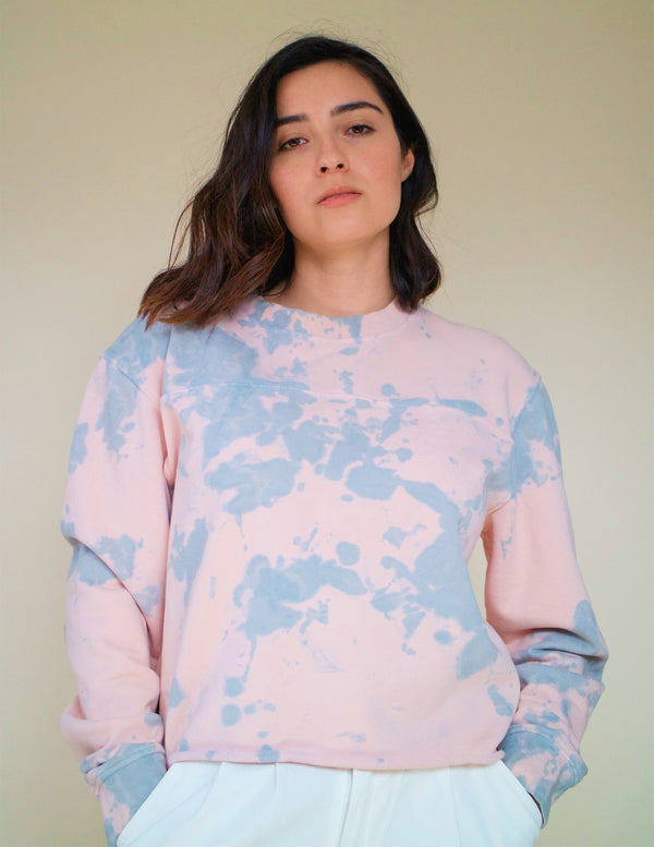 ,Pink/Mint Green Tie-Dye Crewneck - All For Ramon